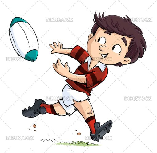 Boy passing a rugby ball