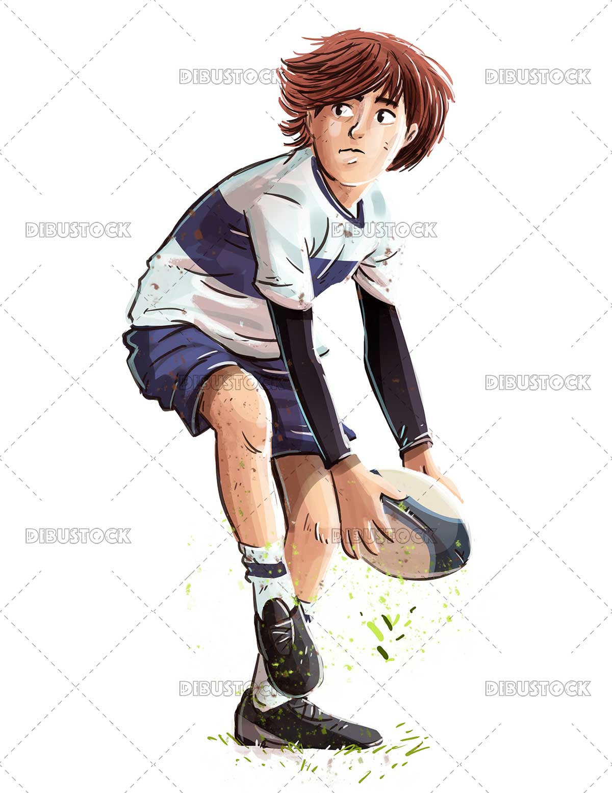 Boy playing with rugby ball