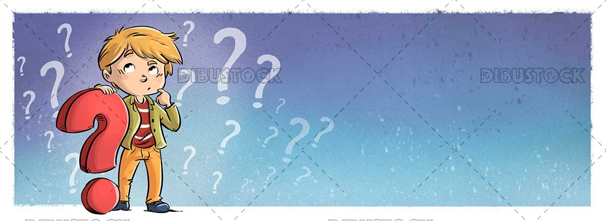 Boy thinking with question symbol