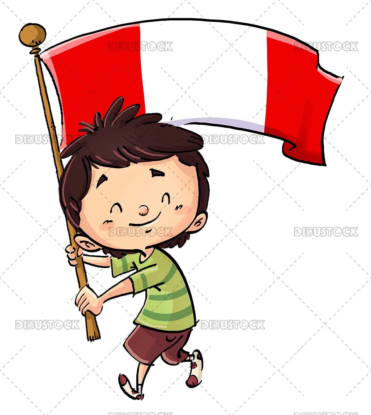 Boy with flag of Peru