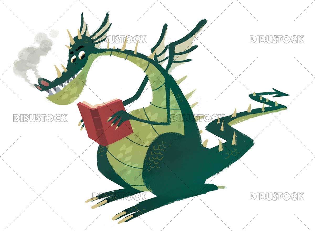 Dragon reading a book 1