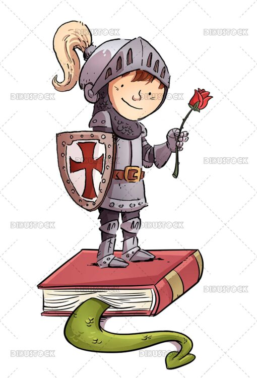 Knight boy with rose and book