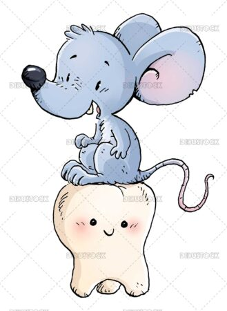 Mouse sitting on top of tooth