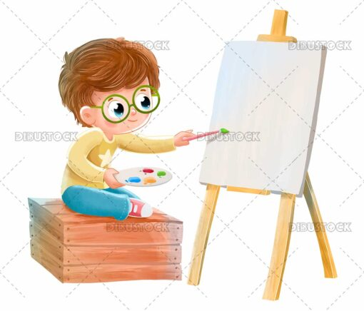 Boy painting on a canvas sitting on a box