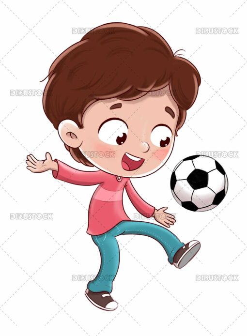 Boy playing soccer kicking the ball