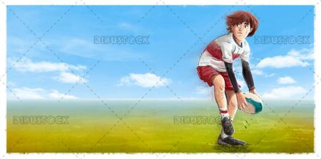 Boy with ball on a rugby field