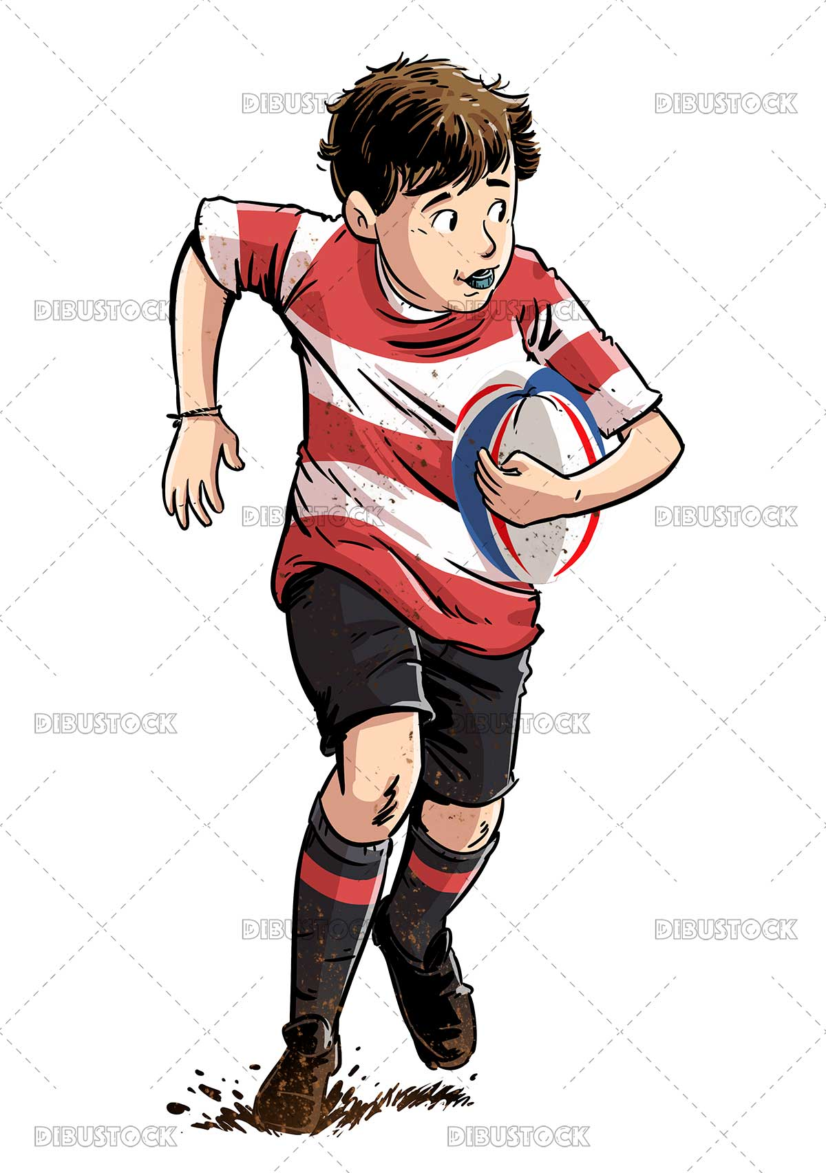 Boy with rugby ball playing a match