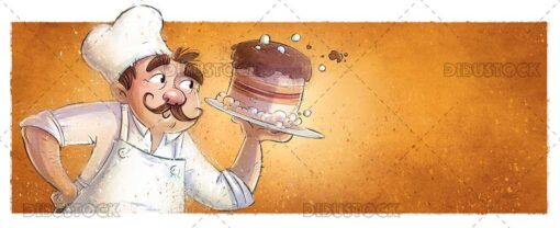 Chef with cake in hands