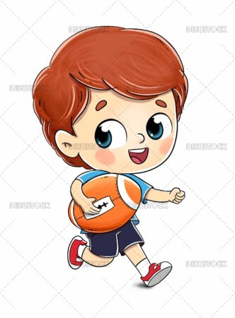 Drawing of a boy playing rugby