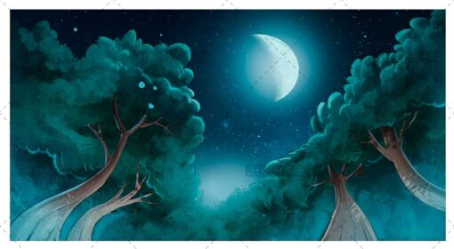 Forest night landscape with moon