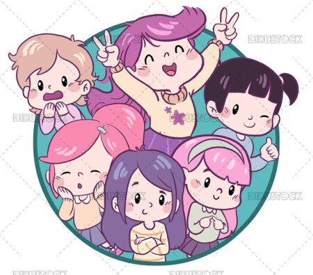 Group of little girls kawaii style