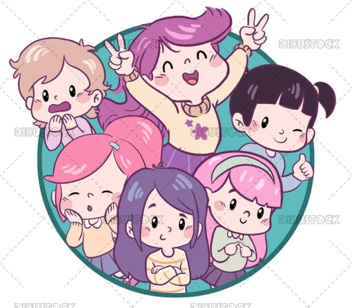 Group of little girls kawaii style