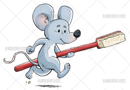 Mouse with toothbrush