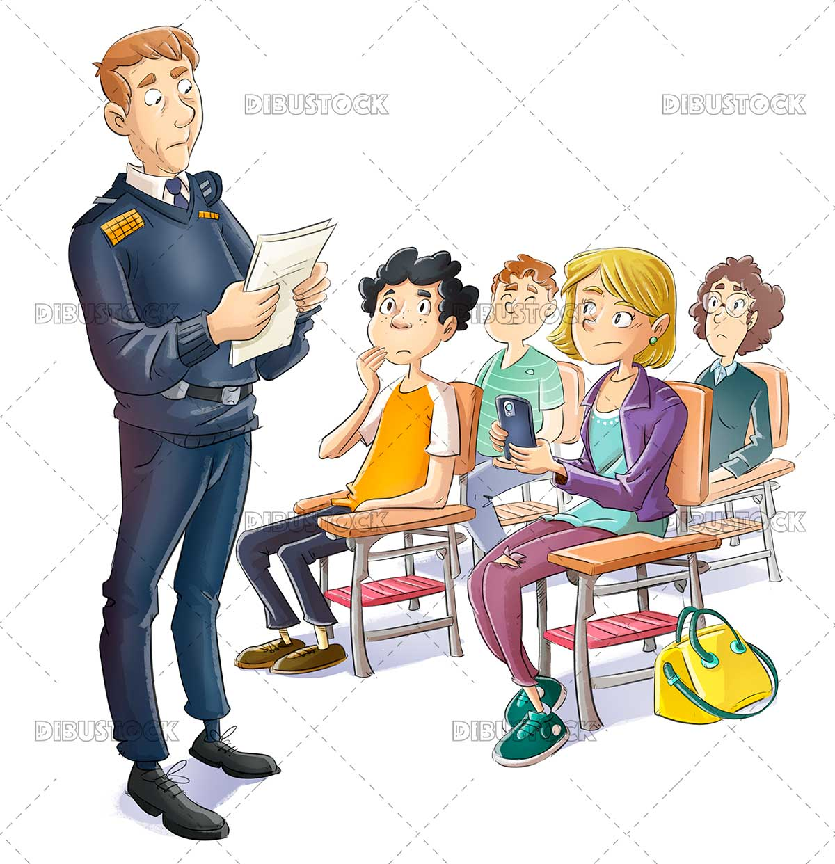Police giving a talk to teenagers