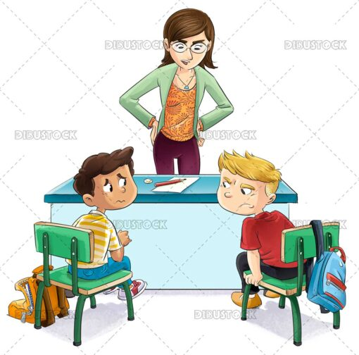 Teacher talking to two students who have quarreled
