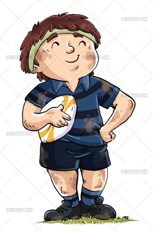 boy with dirty rugby ball