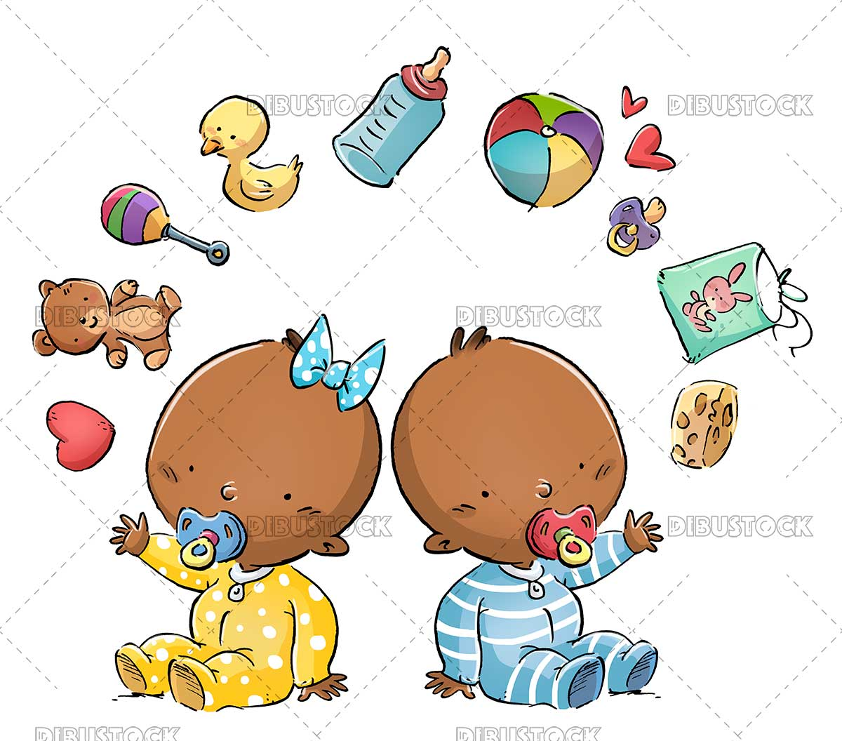 African American babies with toys