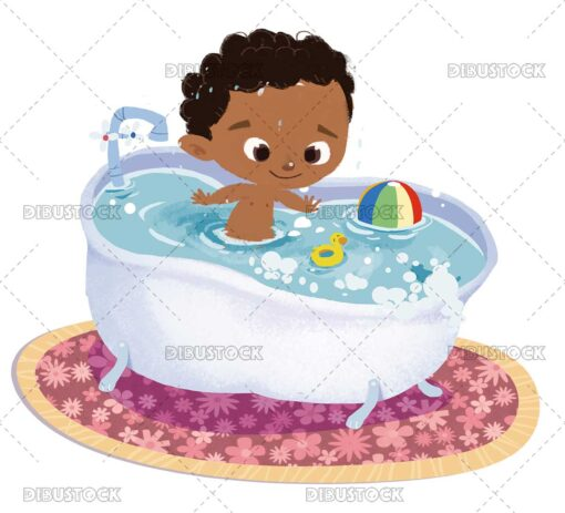 African American baby in the bathtub
