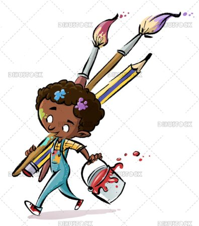 African American boy artist with paint brushes