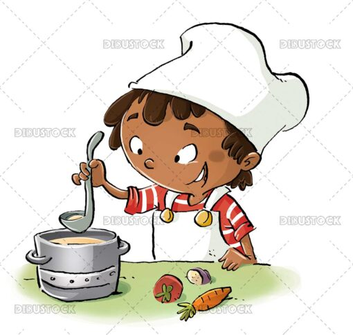 African American boy cooking with pot