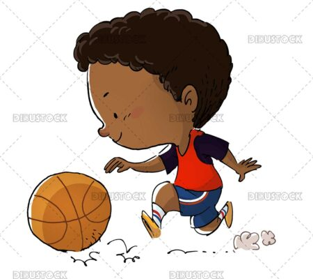African American boy playing basketball with ball