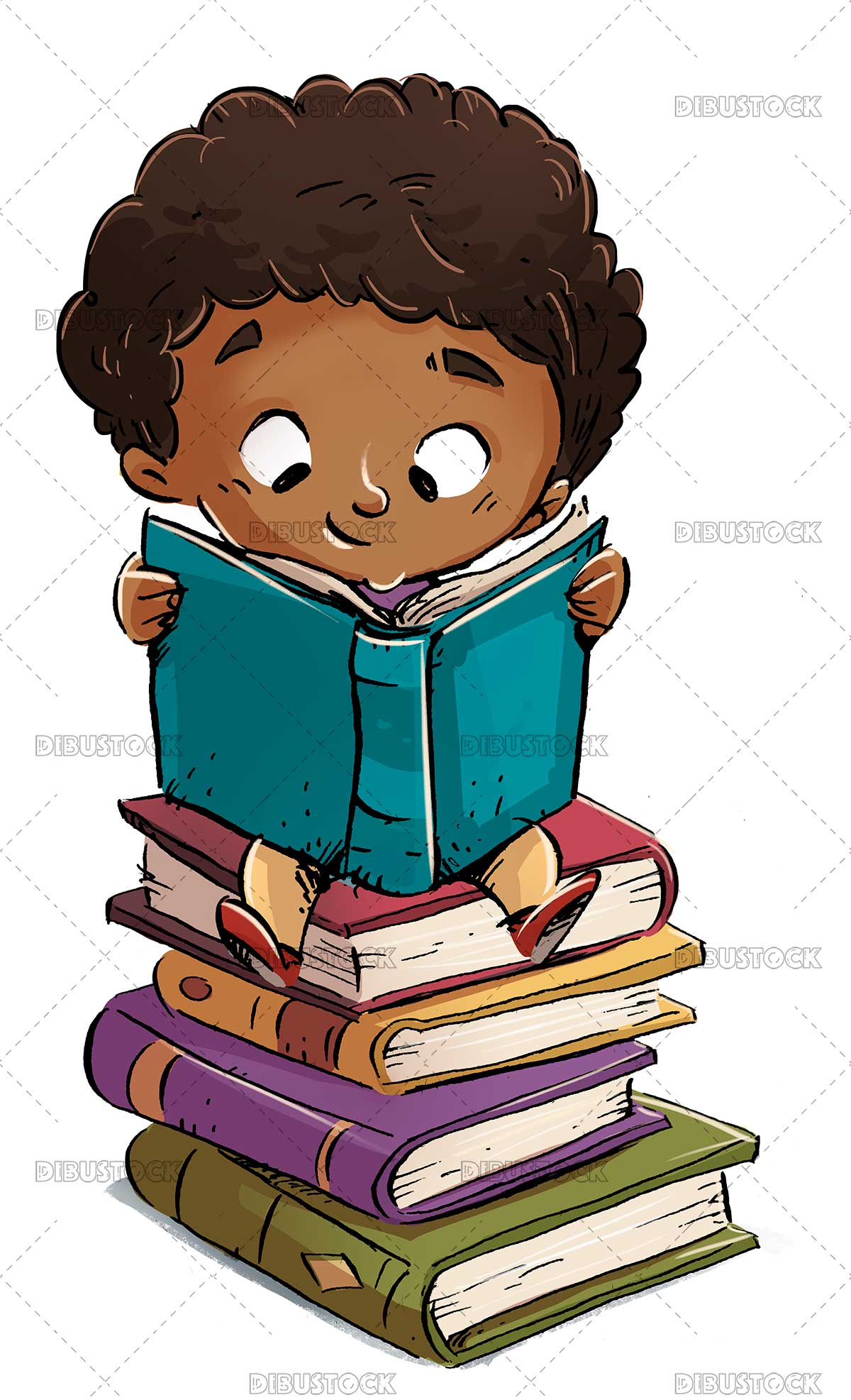 African American boy reading on a pile of books