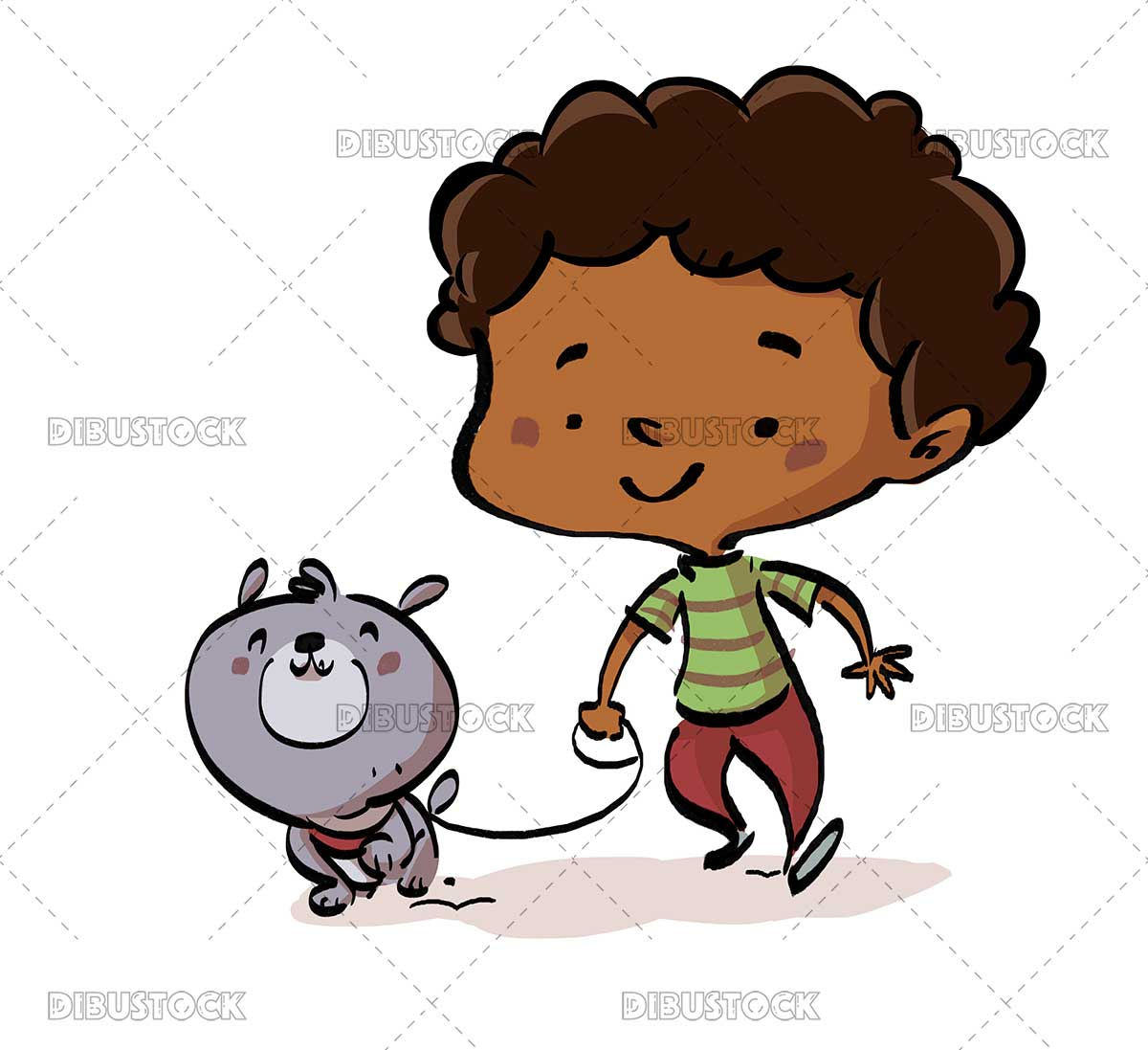 African American boy walking his dog