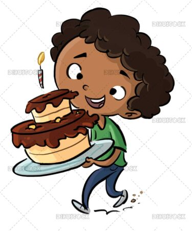 African American boy with birthday cake
