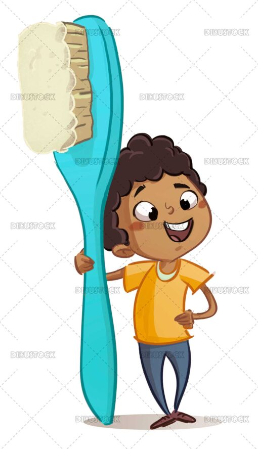 African American boy with giant toothbrush