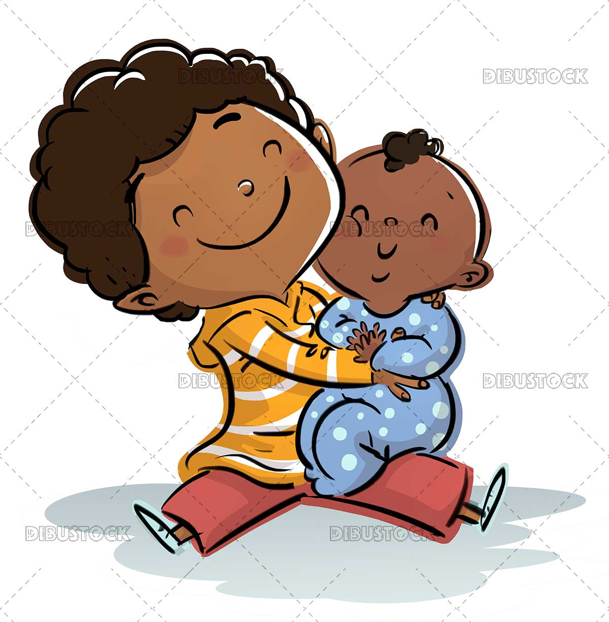 African American boy with his baby sister