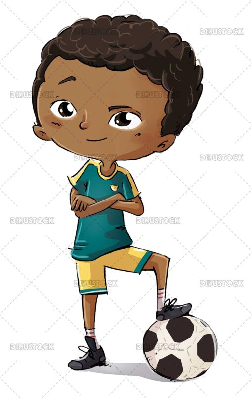 African American boy with soccer ball
