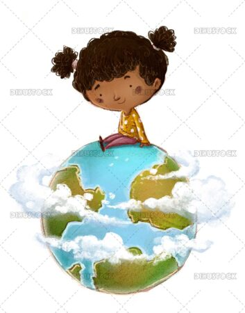 African American girl with planet Earth