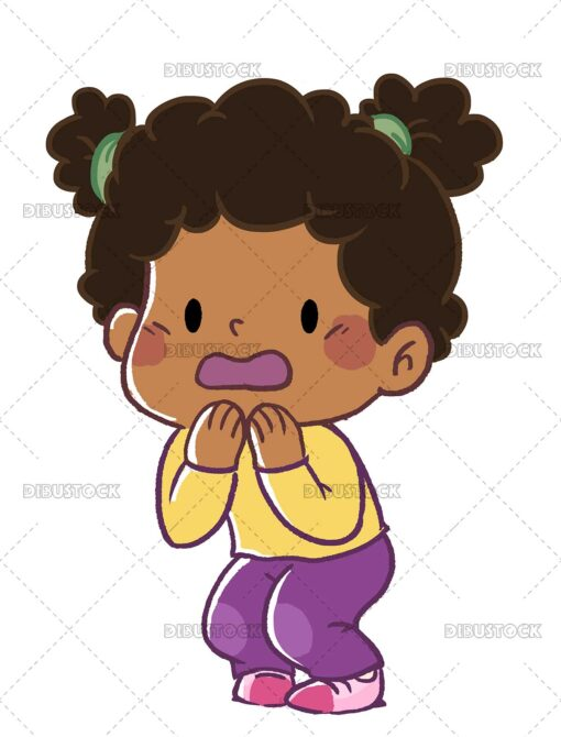 African American girl with surprised expression