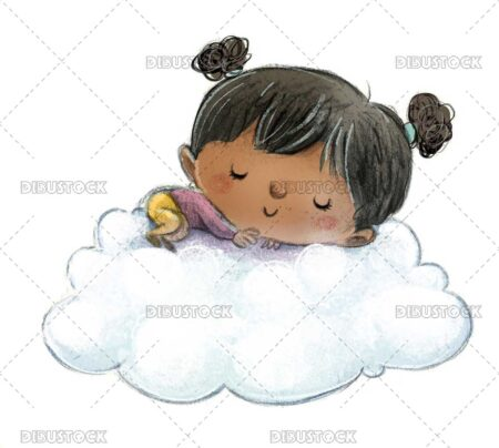 African American toddler girl sleeping on a cloud