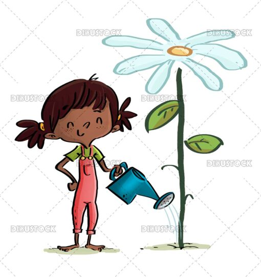 African American toddler girl watering a flower