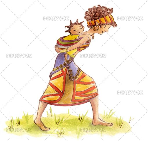 African tribe woman with baby