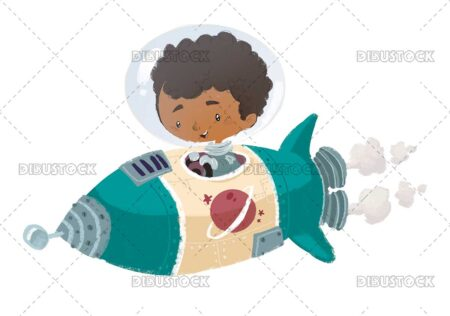 Afro boy flying with space rocket
