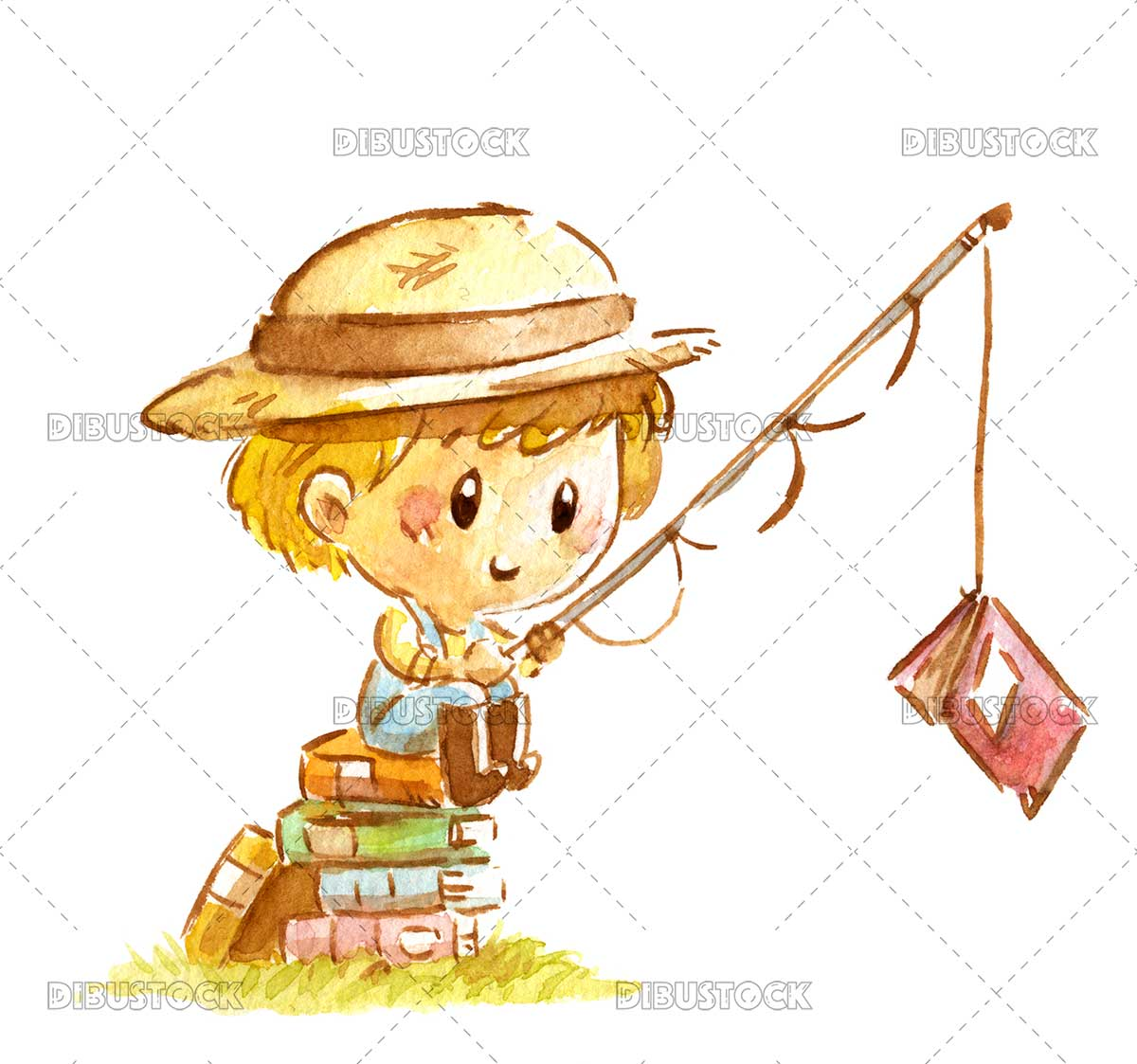 Boy fishing a book with fishing rod