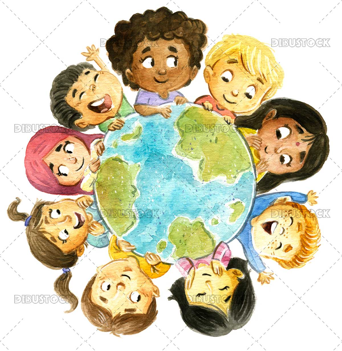 Children of different ethnicities around the planet earth.