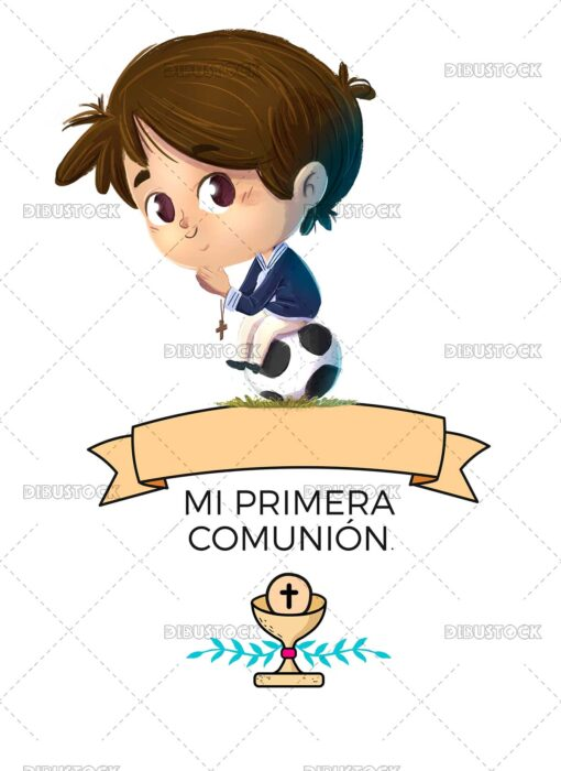 Drawing of Boy dressed as a first communion boy sitting on a football with a banner