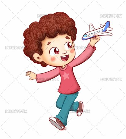 Drawing of a boy playing with a toy airplane