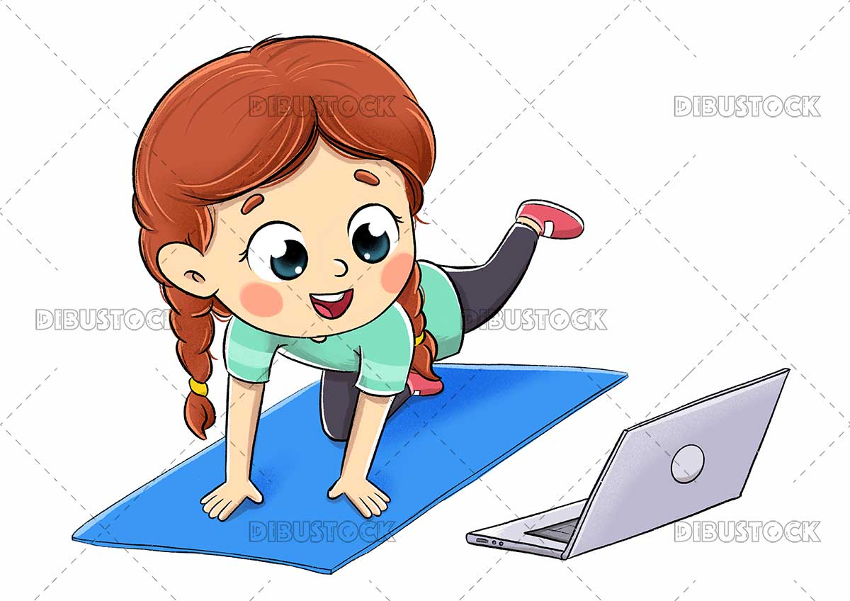 Drawing of a girl doing gymnastics watching online videos on the computer