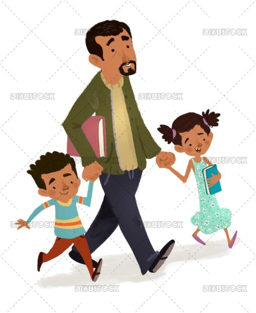 Family of African American father and children