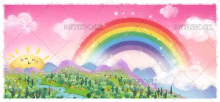 Field landscape with rainbow and sun