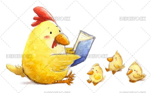 Hen reading a book to chicks