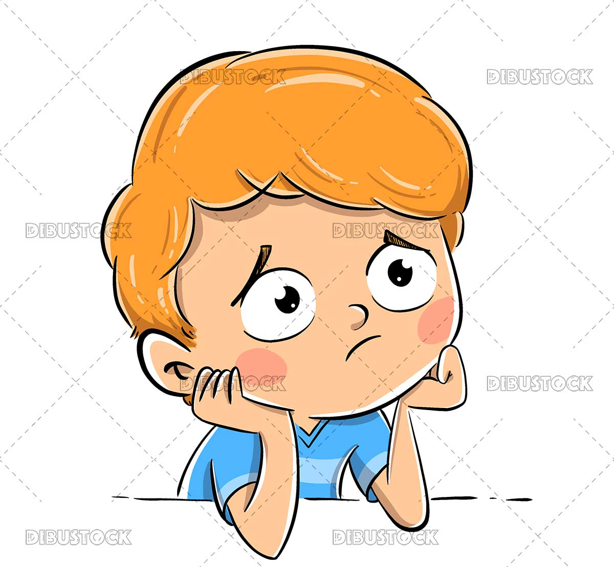Illustration of a Worried Boy Thinking About Something