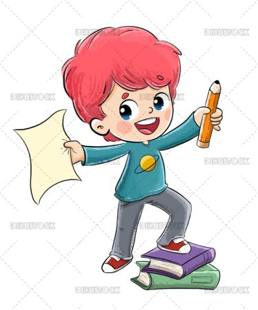 Illustration of a boy with a pencil and a book smiling
