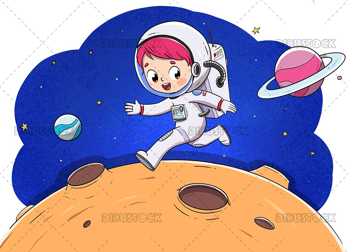 Illustration of a child astronaut running happily on a planet in space