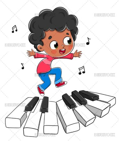 Illustration of a child dancing on the keys of a piano playing music.