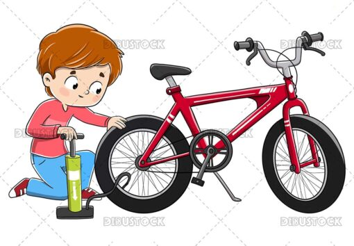 Illustration of a child repairing a bicycle by filling the wheel with air
